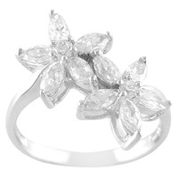 Sterling Silver Cubic Zirconia Double Flower Ring - Silver/White 7