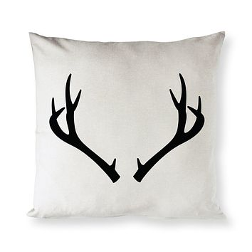 Deer Antler Christmas Holiday Pillow Cover