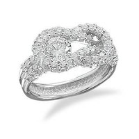 CleverSilver's Rhodium Plated Cz Knot Design Sterling Silver Ring