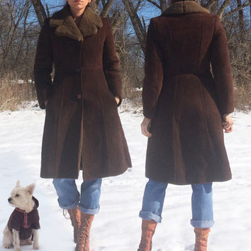 Vintage 60's 70's Penny Lane CHOCOLATE Brown Shearling Sheepskin Leather Coat || Warm Hippie Boho Princess Coat || Size XS 0 2