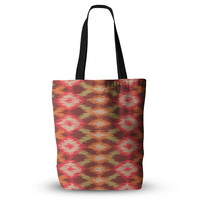 "Coral Aztec Tribal Print Unique Mom Grocery Diaper Beach Tote Bag 18""x18"""