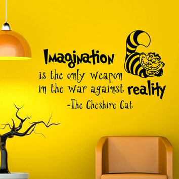 Alice In Wonderland Wall Decals Quotes Imagination Is The Only Weapon Vinyl Wall Sticker Art Bedroom Dorm Home Decor Q032