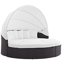 Convene Canopy Outdoor Patio Daybed Espresso White EEI-2173-EXP-WHI-SET
