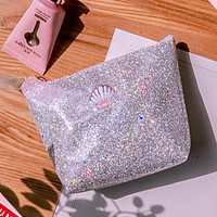 Sequins Shell Cosmetic Bag Lady Glitter Beauty Accessories Money Pouch Girls Knitting Mini Purse Handbag Stationary Pencil Case