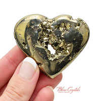 85 gm PYRITE * Heart of Gold * + Stand Polished Heart Specimen Stone Healing Crystal and Stone Pyrite Heart Valentine Gift #PH27