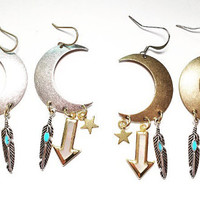 Sisters of the Moon Charm Edition Earrings in Gold or Silver with Mother of Pearl Arrows, Silver Turquoise Feathers, and Gold Star Charms.
