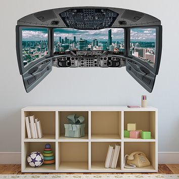 Airplane Cockpit Wall Decal Mural | City Mural Wall Decal - CP23
