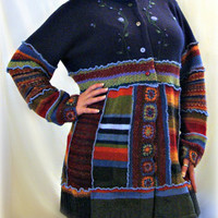OOAK Womens Sweater, Womens Upcycled Sweater, Rainbow Sweater