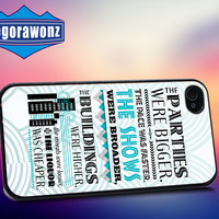 The Great Gatsby quote - iPhone 4/4s/5/5s/5c Case - Samsung Galaxy S3/S4 - Blackberry z10 Case - Black or White