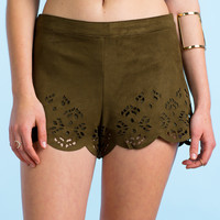 Scalloped Suede Shorts