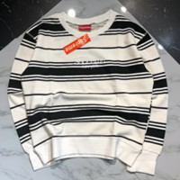 Supreme Autumn And Winter New Fashion Bust Embroidery Letter Couple Leisure Sports Long Sleeve Stripe Top Sweater