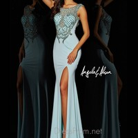 Bateau Neckline Fitted Angela & Alison Formal Prom Gown 51008