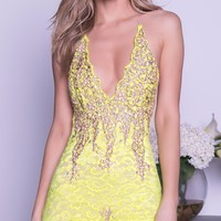 BROOKLYN LACE DRESS IN LIME