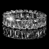 Riana Radiant Cut Eternity Stackable Ring | 8ct | Sterling Silver