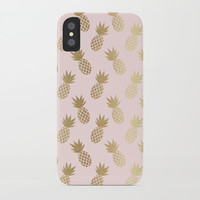 Pink & Gold Pineapples iPhone Case by Tanyadraws