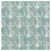 Anchor Vintage Aqua Green Wood Beach Fabric