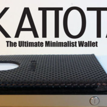 KAPOTAS The Ultimate Minimalist Wallet Credit Card & ID Pocket Brown Leather Card Holder w/Microsuction Backing- GNKapotas Designs est.2014