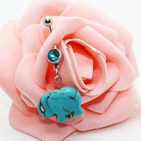 Belly button ring,Turquoise elephant belly ring,Elephant belly button jewelry,Friendship gift