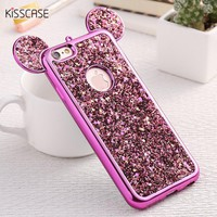 KISSCASE 3D Mickey Mouse Silicone Case For iPhone 6 6s Plus 7 7 Plus 5 5s SE Cases Fashion Bling Glitter Ultra Soft TPU Cover