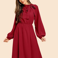 Tie Neck Lantern Sleeve Solid Dress