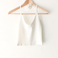 Halter V-neck Crop Top - White