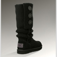 """UGG"" Women Girl Fashion Weave Wool Snow Boots Black"