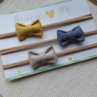 Chambray Bitty Bows on Nylon Headbands -Mustard, Natural, Navy - YOU CHOOSE - One Size Fits All -  Fall - Gracie and Me