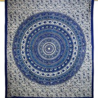 "Mandala Art Wall Décor Tapestry Wall Hanging Table Runner Blue Designer Table Cloth Bed Sheet 95"" X 82"" Gift"