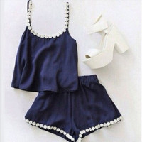 2015 New Summer Backless Hollow Sleeveless tops Sexy Navy blue Two Piece Set Women tank tops Shorts Vestidos 31