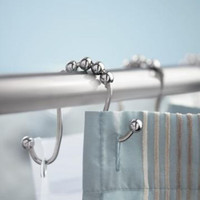 Silver Shower Curtain Hooks Set of 12 Per Pack