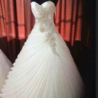 Ball Gown Sweetheart Crystal Wedding Dress With Beading Pleats