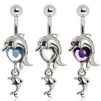 14g Dolphin & Gem Heart Belly Button Ring Navel Body Jewelry Piercing with Surgical Steel Curved Barbell 14 Gauge