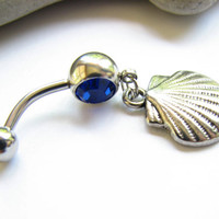 Seashell Belly Button Jewelry, Silver Shell Belly Ring Scallop Bellybutton Ring Beach Jewelry