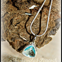 """NECKLACE AQUAMARINE, sterling silver necklace, womens, birthstone, ice blue, aqua, faceted crystal, 16"""", Valentines gift, birthday gift,"""