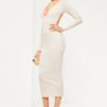 Missguided - Nude Ribbed Plunge Open Back Midi Dress
