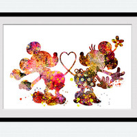 Watercolor Mickey mouse poster Mickey and Minnie mouse colorful print Disney watercolor print Home decoration art Gift for birthday  W194