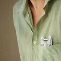 cat brooch peekaboo kitten hand painted brooch for cat lovers black and white