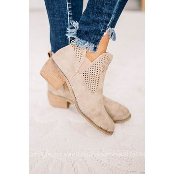 Rimini Taupe Laser Cut Ankle Booties