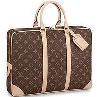 Louis Vuitton Monogram Canvas Porte-Documents Voyage Handle Handbag Article: M40226