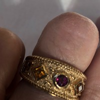 Vintage Handmade Pink tourmaline and citrine Golden Sterling Silver gothic Ring