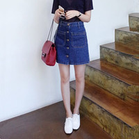 High Waist Tailored A-Line  Button Down Mini Denim Skirt with Piping