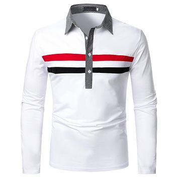Men's Two-color Strip Long-sleeved Shirts