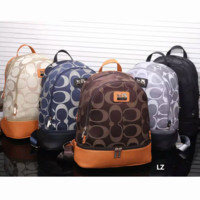 COACH Women Casual Shoulder School Bag Cowhide Leather Backpack