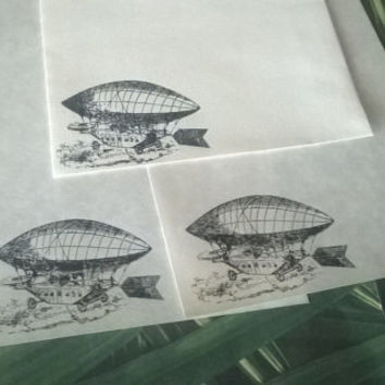 Zeppelin stationery Set 1 5 10 parchment paper letter writing envelope industrial air ship steampunk blimp handmade card adult coloring