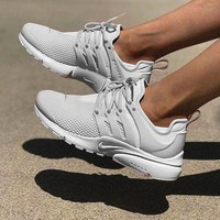 """NIKE""Air Presto  Men Fashion Running Sport Casual Shoes Sneakers sliver-gray hook H-AA-SDDSL-KHZHXMKH"