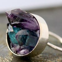 Mixed Crystal Keyhole Sterling Silver Ring  Custom by Specimental