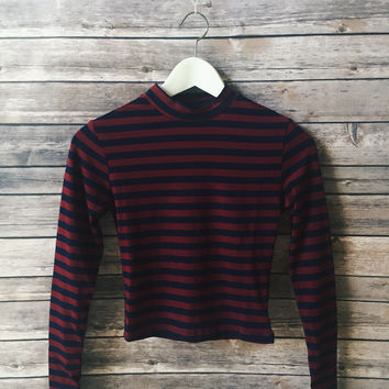 Burgundy Striped Mock Neck