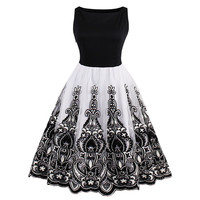 Sisjuly Women's Vintage Dresses 2017 New Sleeveless Embroidery O-Neck Knee-Length Organza Mesh Plus Size 4XL Party Swing Dresses