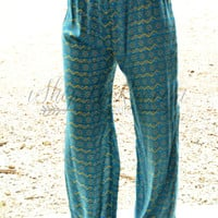 NATURAL LIFE TURQUOISE AND GREEN LOUNGE PANTS
