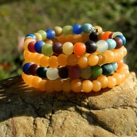 Orange and Mixed Indonesian Glass Beads Bangle